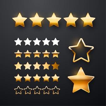 Conjunto de iconos de cinco estrellas doradas para la interfaz de la aplicación