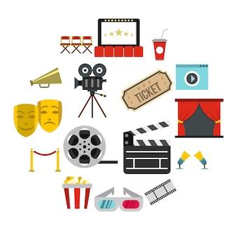 Conjunto de iconos de cine, estilo plano