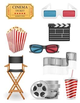 Conjunto de iconos de cine stock ilustración aislado sobre fondo blanco.