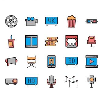Conjunto de iconos de cine.