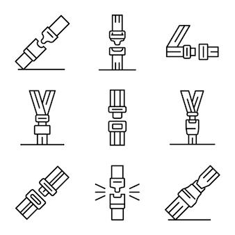 Conjunto de iconos de cinturón de seguridad, estilo de contorno