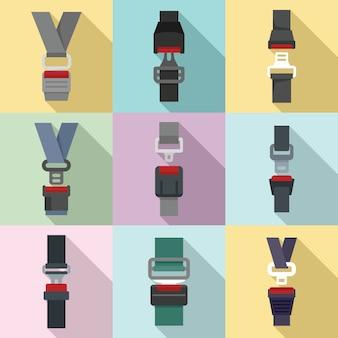 Conjunto de iconos de cinturón de seguridad, estilo plano