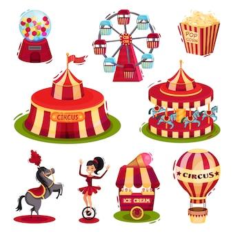Conjunto de iconos de circo. carruseles, carpa de circo, comida rápida en globo aerostático. elementos para póster o folleto
