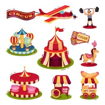 Conjunto de iconos de circo. carruseles, carros con comida rápida, boletos, hombre fuerte, avión con pancarta