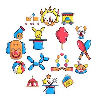 Conjunto de iconos de circo, estilo de dibujos animados