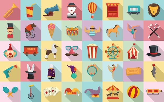Conjunto de iconos de circo, estilo plano