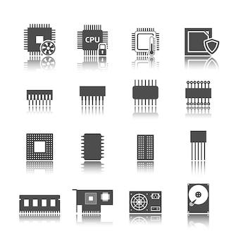 Conjunto de iconos de circuito de computadora