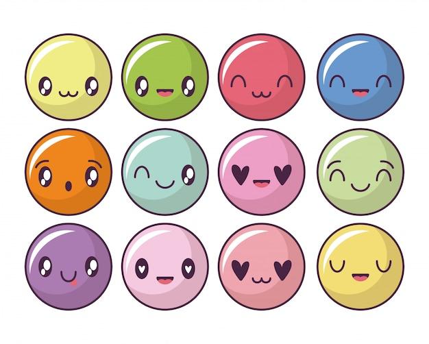 Conjunto de iconos con círculos de expresión estilo kawaii, emoticon