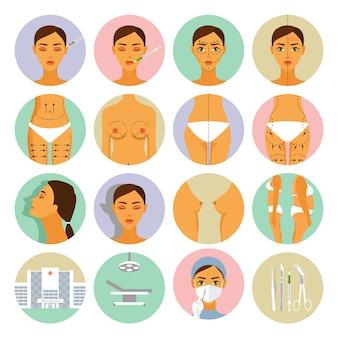 Conjunto de iconos de cirugía plástica