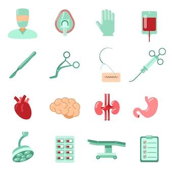 Conjunto de iconos de cirugía