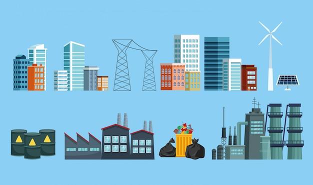 Conjunto de iconos de la ciudad y la industria contaminante