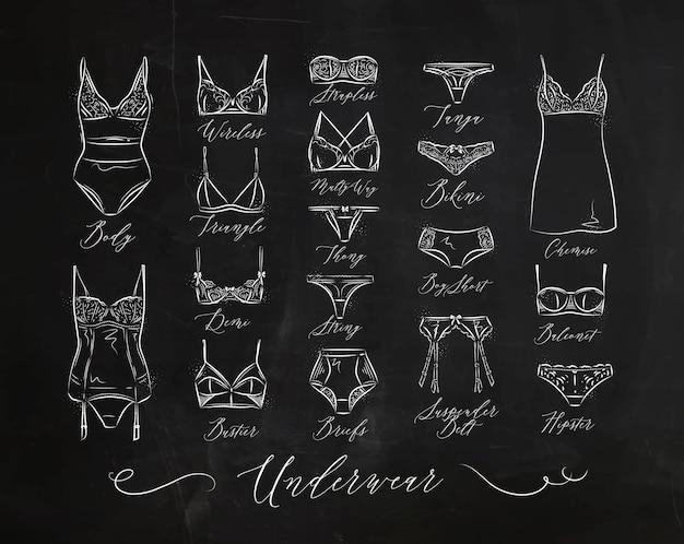 Conjunto de iconos clásicos de la ropa interior