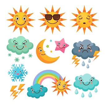 Conjunto de iconos de clima de dibujos animados. imágenes divertidas aislar sobre fondo blanco.