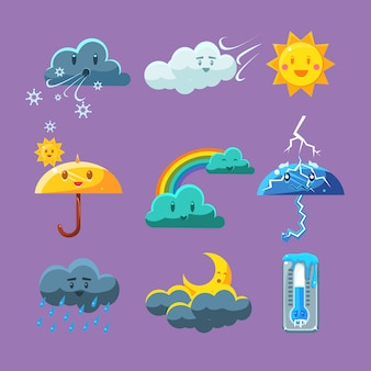 Conjunto de iconos de clima infantil