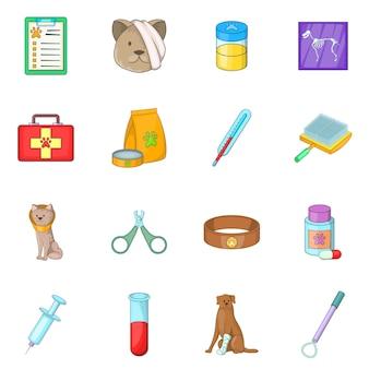 Conjunto de iconos de clínica veterinaria