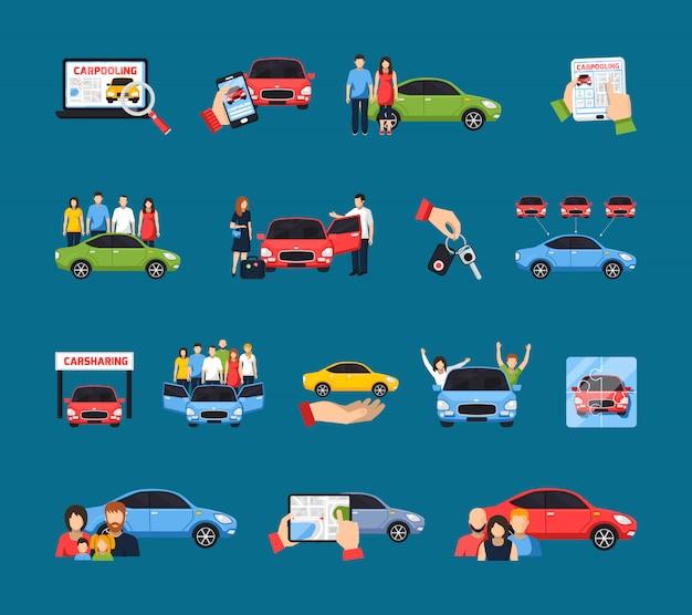 Conjunto de iconos de coche compartido