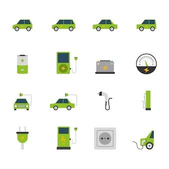 Conjunto de iconos de coche eléctrico