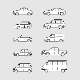 Conjunto de iconos de coche, estilo de línea fina