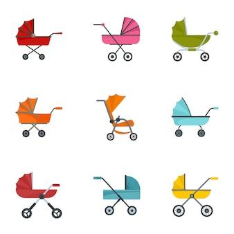 Conjunto de iconos de cochecito de bebé, estilo plano