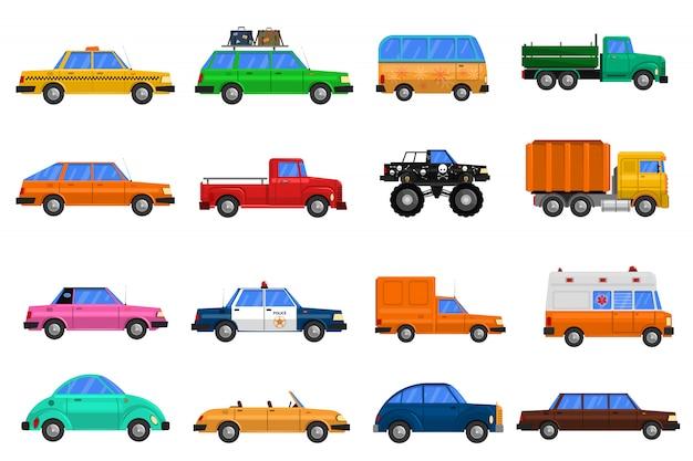 Conjunto de iconos de coches