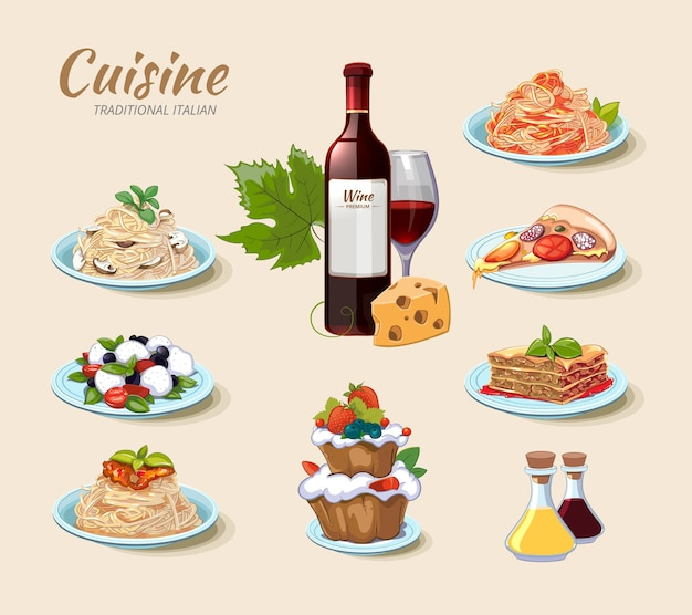 Conjunto de iconos de cocina italiana