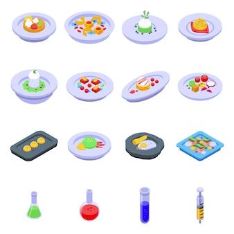 Conjunto de iconos de cocina molecular, estilo isométrico