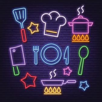 Conjunto de iconos de cocina neón