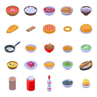 Conjunto de iconos de cocina rusa, estilo isométrico