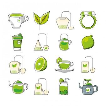 Conjunto de iconos con cocina de té y herramientas