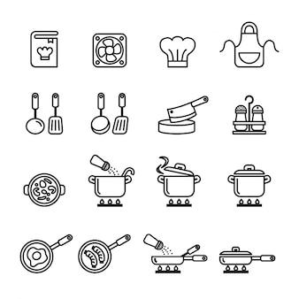 Conjunto de iconos de cocina, utensilios de cocina y utensilios