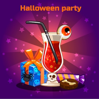 Conjunto de iconos, cócteles y dulces para fiesta de halloween