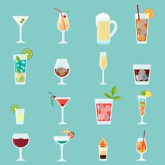 Conjunto de iconos de cócteles