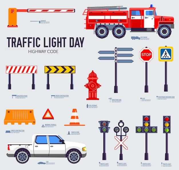 Conjunto de iconos de código de carretera y día de semáforo