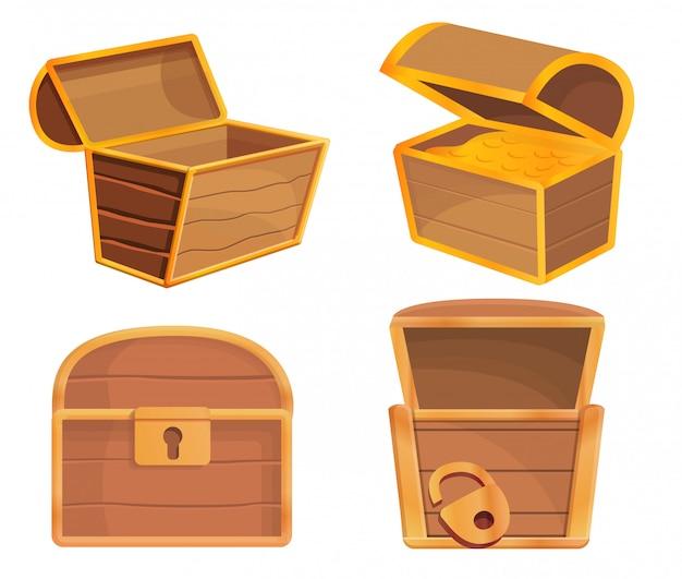 Conjunto de iconos de cofre dower, estilo de dibujos animados