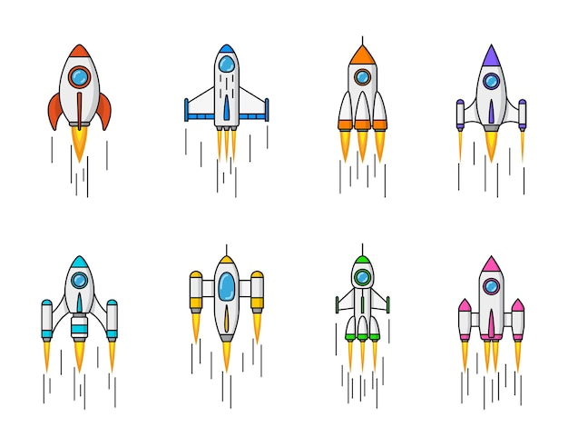 Conjunto de iconos de cohetes sobre fondo blanco,