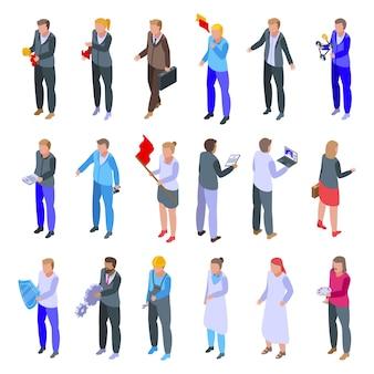 Conjunto de iconos de colaboración empresarial. conjunto isométrico de iconos de colaboración empresarial para web