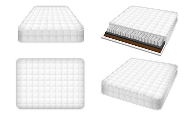 Conjunto de iconos de colchón, estilo realista