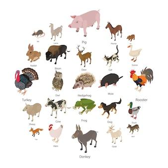 Conjunto de iconos de colección de animales, estilo isométrico