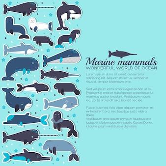 Conjunto de iconos de colección de animales de mamíferos marinos