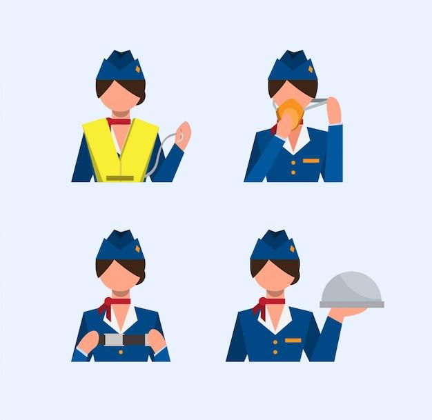 Conjunto de iconos de colección de auxiliar de vuelo, instrucciones de seguridad, ilustración plana