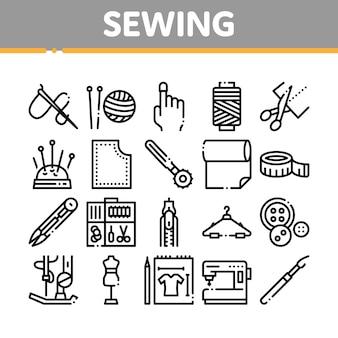 Conjunto de iconos de colección de costura y costura