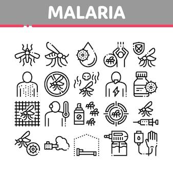 Conjunto de iconos de colección de dengue de enfermedad de malaria
