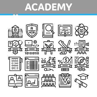 Conjunto de iconos de colección educativa de la academia