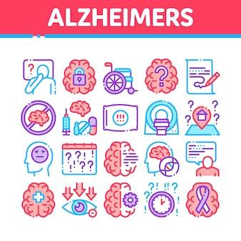 Conjunto de iconos de colección de enfermedad de alzheimer
