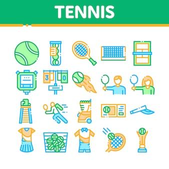 Conjunto de iconos de colección de equipos de juego de tenis