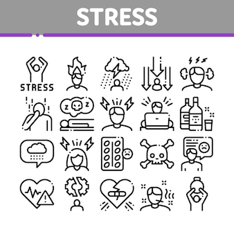 Conjunto de iconos de colección de estrés y depresión