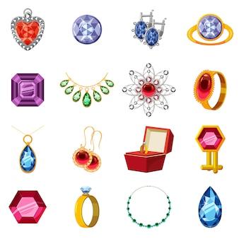 Conjunto de iconos de colección de joyas, estilo de dibujos animados