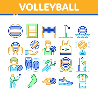 Conjunto de iconos de colección de juegos de deporte de voleibol