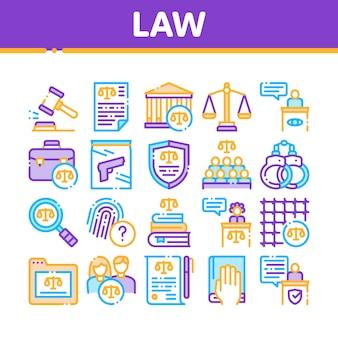 Conjunto de iconos de colección de ley y juicio