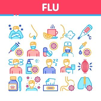 Conjunto de iconos de colección médica de síntomas de gripe